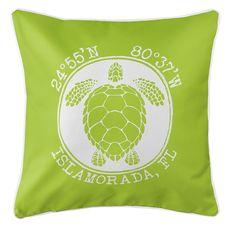 Personalized Coordinates Sea Turtle Coastal Pillow - Lime
