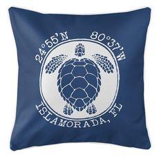 Personalized Coordinates Sea Turtle Coastal Pillow - Navy