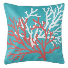 Coral Duo Coral & White on Blue Coastal Pillow
