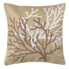 Coral Duo on Beach Sand Brown Coastal Pillow