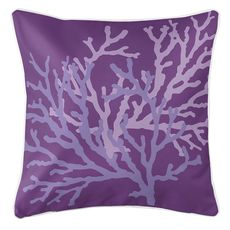 Coral Duo on Purple Coastal Pillow