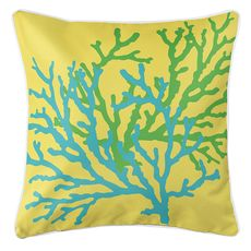 Coral Duo on Yellow Coastal Pillow