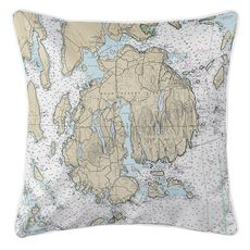 Mount Desert Island, Bar Harbor, Cranberry Islands, ME Nautical Chart Pillow