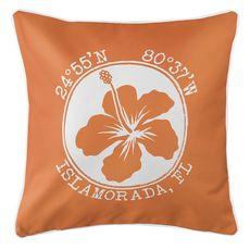Personalized Coordinates Hibiscus Coastal Pillow - Orange