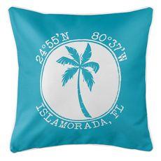 Personalized Coordinates Island Palm Coastal Pillow - Calypso