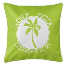 Personalized Coordinates Island Palm Coastal Pillow - Lime
