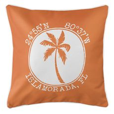 Personalized Coordinates Island Palm Coastal Pillow - Orange