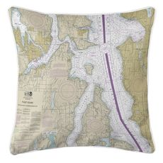 Bremerton, Bainbridge Island, Seattle, WA Nautical Chart Pillow