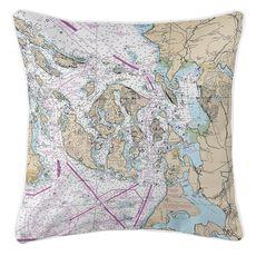San Juan Islands, Bellingham, Anacortes, WA Nautical Chart Pillow