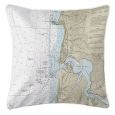 Approaches to Yaquina Bay, OR (zoom in) Nautical Chart Pillow