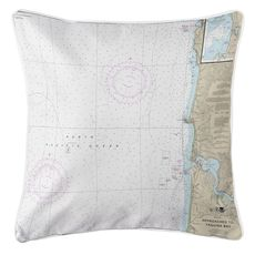 Approaches to Yaquina Bay, OR Nautical Chart Pillow
