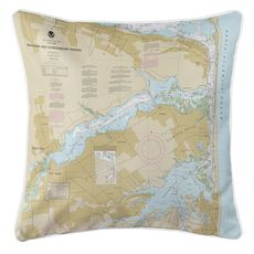 Navesink and Shrewsbury Rivers, Redbank, Rumson Neck, NJ Nautical Chart Pillow