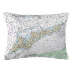 Fishers Island, NY Nautical Chart Lumbar Coastal Pillow