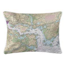 Portsmouth Harbor, NH Nautical Chart Lumbar Coastal Pillow