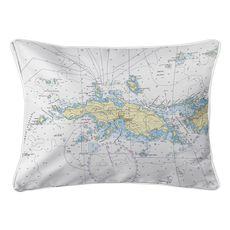 Saint Thomas, USVI Nautical Chart Lumbar Coastal Pillow