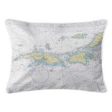 Saint Thomas, Saint John, USVI Nautical Chart Lumbar Coastal Pillow