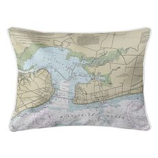 Bay St. Louis, Pass Christian, MS Nautical Chart Lumbar Coastal Pillow
