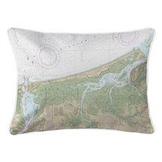 Plum Island, MA Nautical Chart Lumbar Coastal Pillow