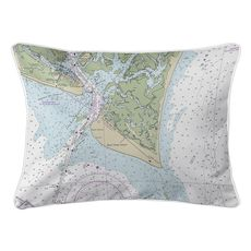 Bald Head Island, NC Nautical Chart Lumbar Coastal Pillow