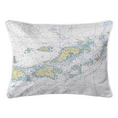 Saint John, Jost Van Dyke, Tortola, VI Nautical Chart Lumbar Coastal Pillow