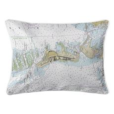 Key Biscayne, FL Nautical Chart Lumbar Coastal Pillow