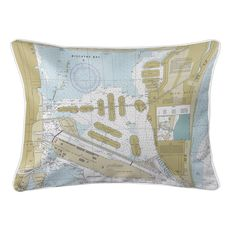 Miami Harbor, FL Nautical Chart Lumbar Coastal Pillow