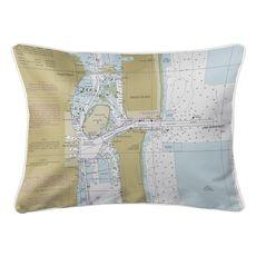 Port of Palm Beach, Peanut Island, FL Nautical Chart Lumbar Coastal Pillow