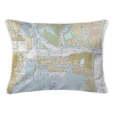 Fort Pierce Harbor, FL Nautical Chart Lumbar Coastal Pillow