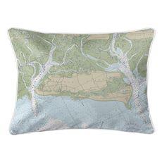 Sapelo & Doboy Sounds, GA Nautical Chart Lumbar Coastal Pillow