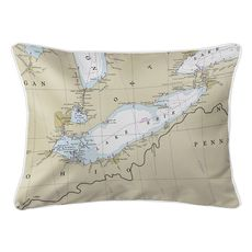 Lake Erie Nautical Chart Lumbar Coastal Pillow
