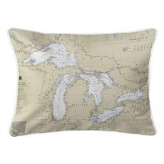 Great Lakes Nautical Chart Lumbar Coastal Pillow