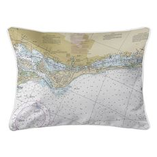Siesta Key, FL Nautical Chart Lumbar Coastal Pillow
