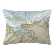 Astoria, OR Nautical Chart Lumbar Coastal Pillow