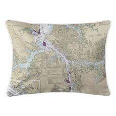 Norfolk, Portsmouth, VA Nautical Chart Lumbar Coastal Pillow