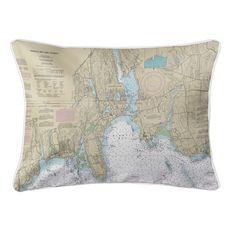 Niantic, CT Nautical Chart Lumbar Coastal Pillow