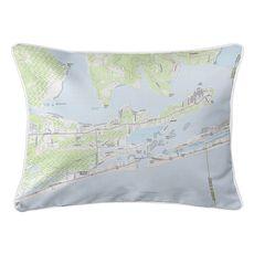 Orange Beach, AL Topo Map Lumbar Coastal Pillow