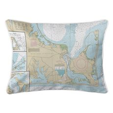 Edgartown, Chappaquiddick Island, MA Nautical Chart Lumbar Coastal Pillow