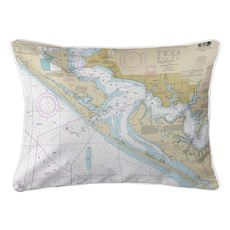 Panama City, St. Andrew Bay, FL Nautical Chart Lumbar Coastal Pillow