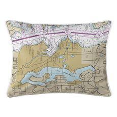 Lake Washington, WA Nautical Chart Lumbar Coastal Pillow