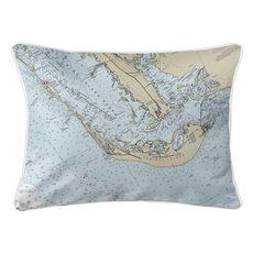Sanibel Island, FL Nautical Chart Lumbar Coastal Pillow