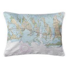 Summerland Key to Big Pine Key, FL Nautical Chart Lumbar Coastal Pillow