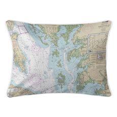 Chesapeake Bay, MD-VA Nautical Chart Pillow