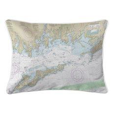 Fishers Island Sound, RI-CT-NY Nautical Chart Lumbar Coastal Pillow