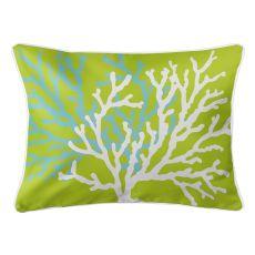 Coral Duo On Lime Lumbar Pillow