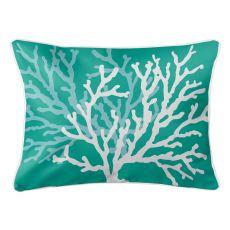 Coral Duo On Aqua Lumbar Pillow