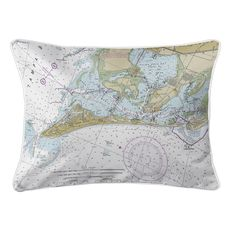 Anna Maria Island, FL Nautical Chart Lumbar Coastal Pillow