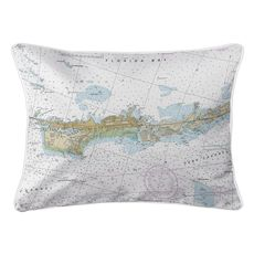 Vaca Key Marathon, FL Nautical Chart Lumbar Coastal Pillow