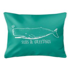 Vintage Whale Christmas Lumbar Coastal Pillow - Aqua