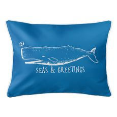 Vintage Whale Christmas Lumbar Coastal Pillow - Medium Blue