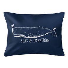 Vintage Whale Christmas Lumbar Coastal Pillow - Navy